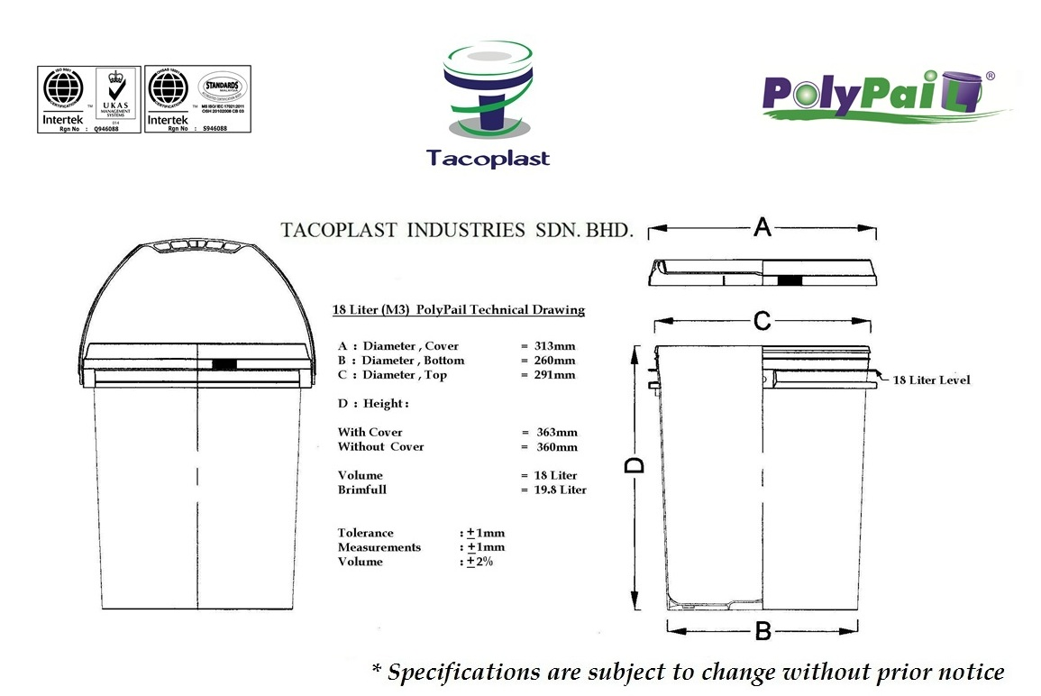 18 Liter M3 PolyPail Technical Drawing