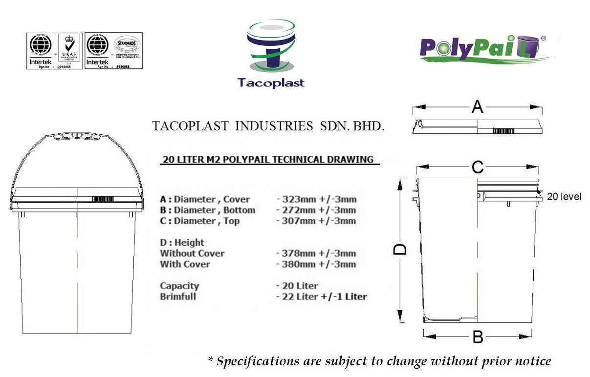 20 Lit M2 PolyPail Technical Drawing