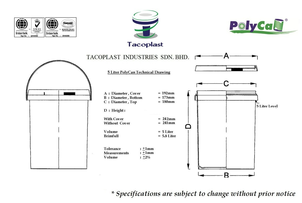 5 Liter PolyCan Technical Drawing